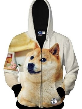 Cute Long Sleeve 3D Painted Dog Pattern Zipper Hoodie for Men