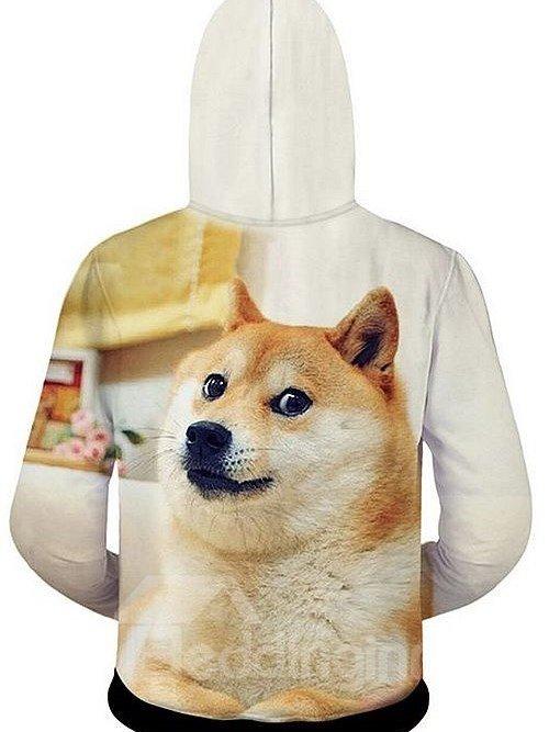 Cute Long Sleeve 3D Painted Dog Pattern Zipper Hoodie for Men
