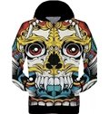 Colorful Long Sleeve 3D Painted Cartoon Skull Pattern Zipper Hoodie for Men