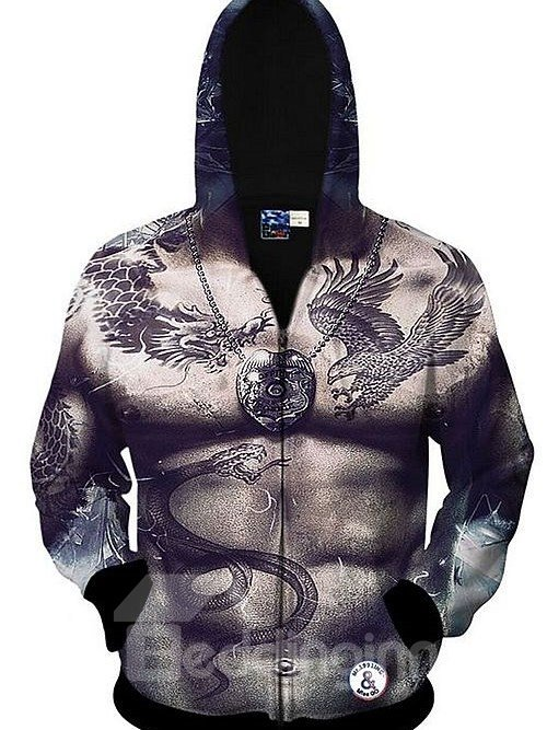 Cool Long Sleeve 3D Painted Muscle and Tattoo Pattern Zipper Hoodie for Men