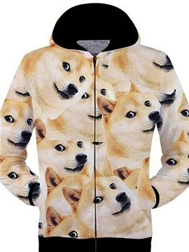 Popular Long Sleeve 3D Painted Dogs Pattern Zipper Hoodie
