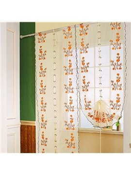 European Style Orange Floral Embroidery Sheer Tied-Up Roman Shades