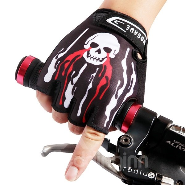 Unisex Skull Half Finger Road Bike Gloves with SBR Pad Anti-seismic Cycling Gloves