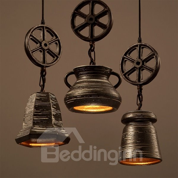 Black Iron Frame Wheel Shape Home Decorative Pendant Light