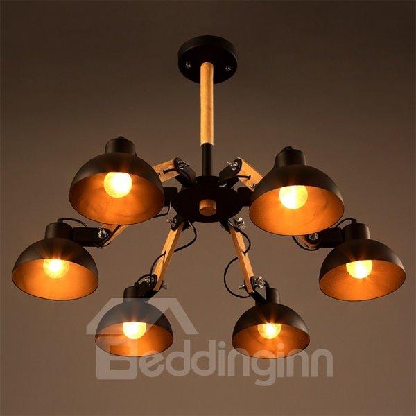 Black Simple Style Semicircle Shape 6 Bulb Holders Pendant Light