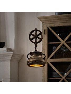 Amazing Iron Frame Wheel and Teapot Shape Pendant Light