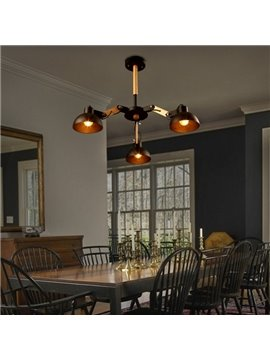 Black Simple Style Semicircle Shape 3 Bulb Holders Pendant Light