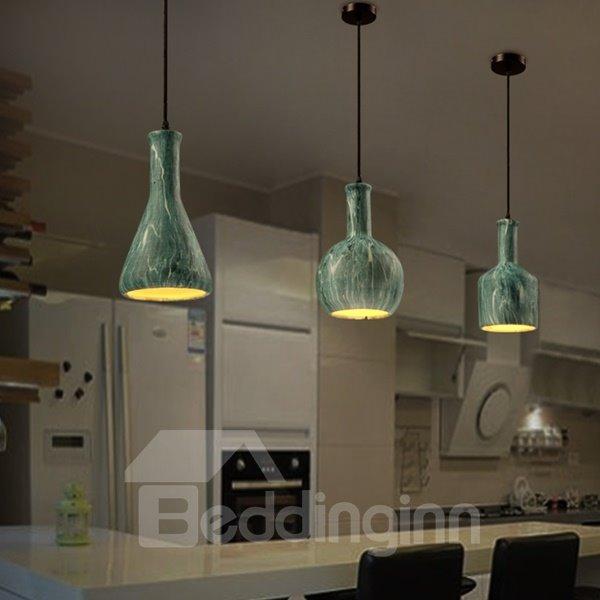 Green Iron Decorative Bottle Shape Chain Pendant Light