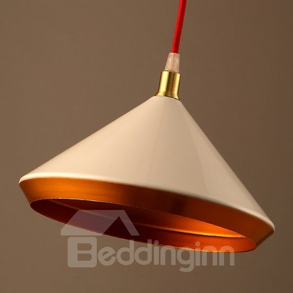 White Iron Funnel Shape Chain Pendant Light