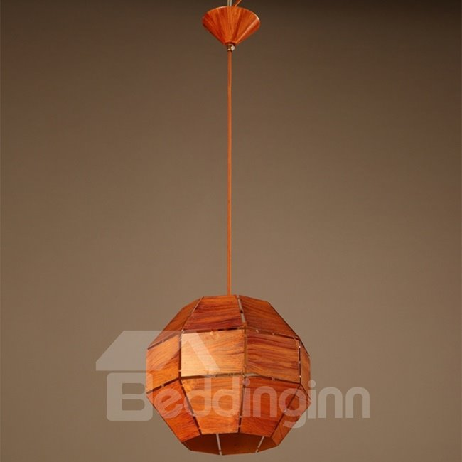Orange Decorative Iron Frame Ball Shape Pendant Light