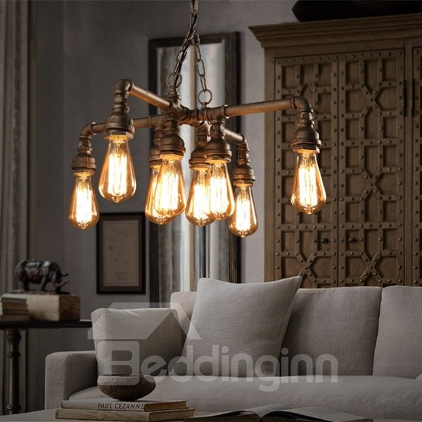 European Style Iron Frame Pipe Shape 8 Bulb Holders Pendant Light