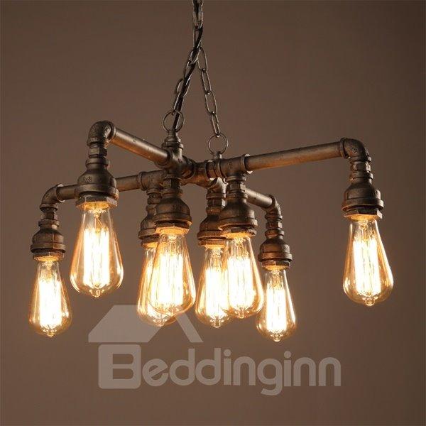 European Style Iron Frame Pipe Shape 8 Bulb Holders Pendant Light