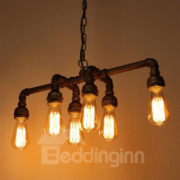 European Style Iron Frame Pipe Shape 6 Bulb Holders Pendant Light