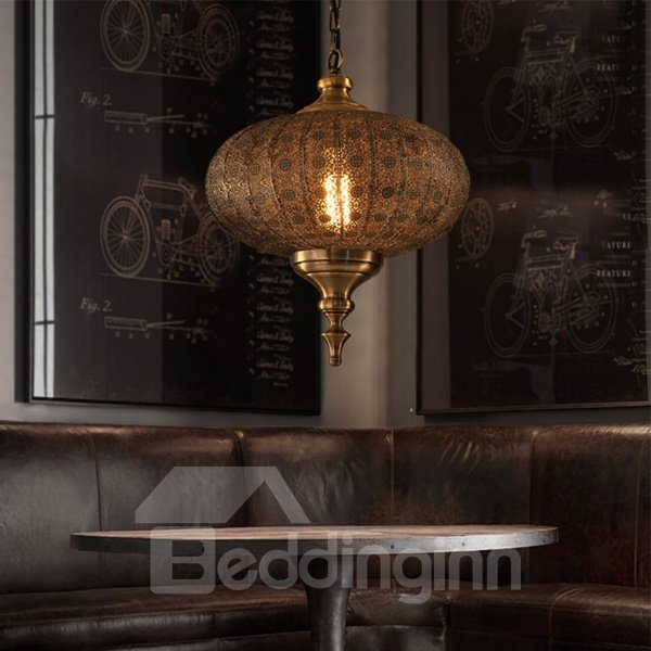Amazing Iron and Glass Lantern Shape Pendant Light