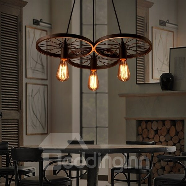 Round Wheel Shape Iron Frame 3 Bulb Holders Pendant Light