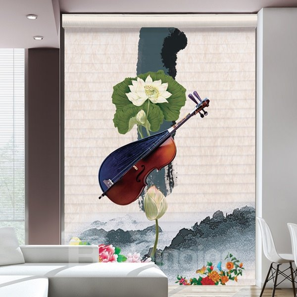Musical Instrument and Water Lily Printing Polyester Shangri-La Blind & Roller Shades