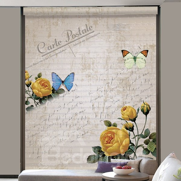 Retro Butterfly and Flower Printing 3D Shangri-La Blind & Roman Shades