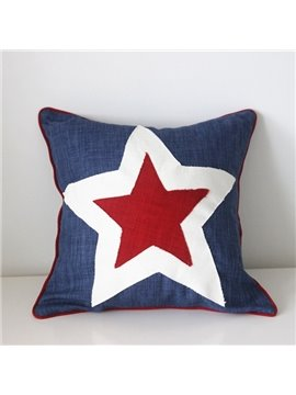 Simple Design Star Print Polyester Throw Pillow