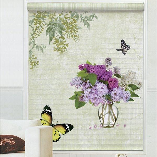 Vivid Butterfly Flying around Purple Hydrangea Printing 3D Shangri-La Blinds & Roller Shades