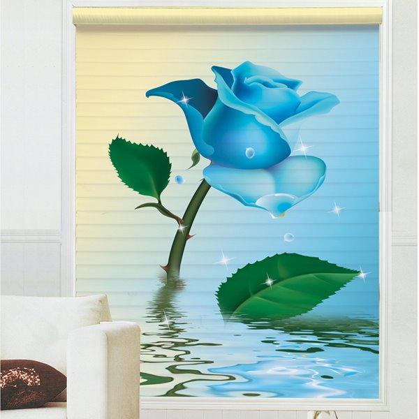 Fantastic Blue Rose on Water Printing 3D Shangri-La Blinds & Roller Shades