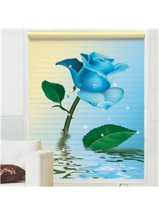 Fantastic Blue Rose on Water Printing 3D Shangri-La Blinds & Roller Shades