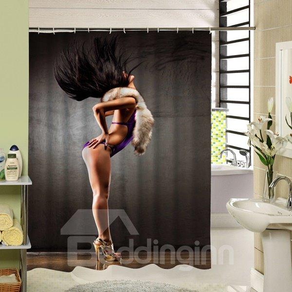 Sexy Woman with Purple Bikini Dancing Printing 3D Shower Curtain