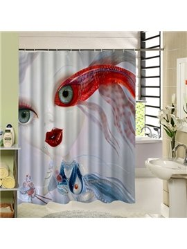 Freaky Cartoon Goldfish Girl Printing 3D Shower Curtain