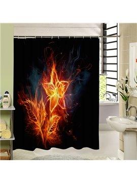 Beautiful Fire Flower Printing Waterproof 3D Shower Curtain