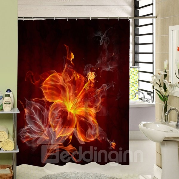 Fire Flower Printing 3D Waterproof Polyester Shower Curtain