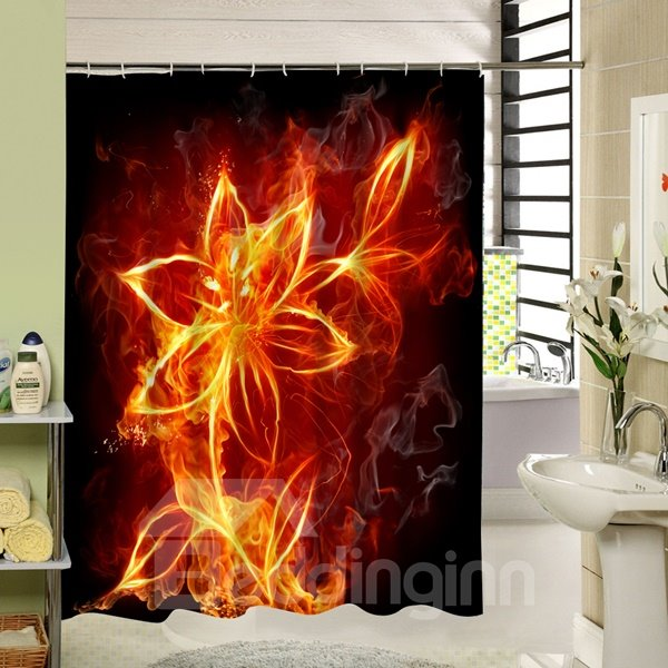 Interesting Fire Lily Printing 3D Bathroom Shower Curtain