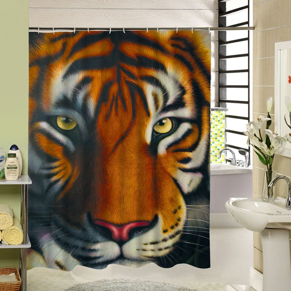 Oil Painting Tiger Face Printing 3D Waterproof Polyester Shower Curtain