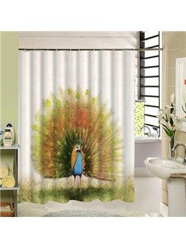 Amazing Flaunting Peacock Printing Bathroom Decor Shower Curtain