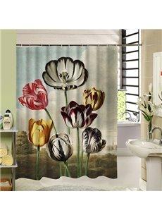 Weird Colorful Flowers Printing 3D Bathroom Decor Shower Curtain