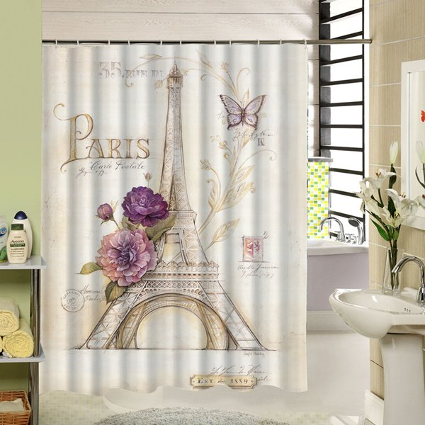 Romantic Hand Painted?Eiffel Tower 3D Waterproof Polyester Shower Curtain