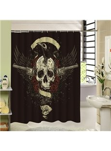 A Cool Skull with Two Guns Printing Bathroom Shower Curtain