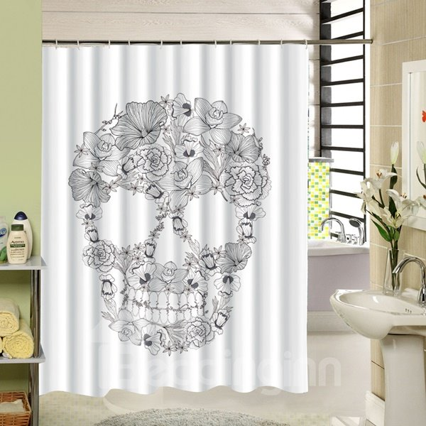 Hand Painted?Skull with Flowers Printing 3D Shower Curtain