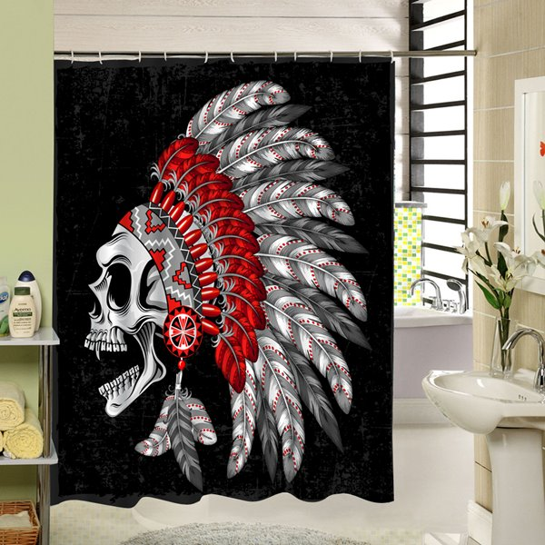Skull in Indian Style 3D Waterproof Polyester Shower Curtain