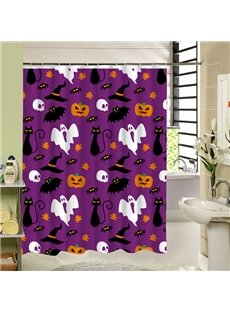 Clip Art Ghost and Other Scary Symbol Halloween Poster 3D Printing Shower Curtain