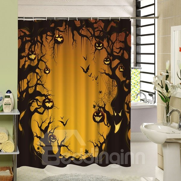 Scary Trees with Pumpkin Lanterns Halloween Poster 3D Printing Shower Curtain