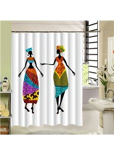 Two Cartoon Woman with Ethnic Clothing Printing 3D Waterproof Polyester Shower Curtain