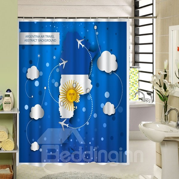 Argentina Air Travel Printing 3D Waterproof Shower Curtain