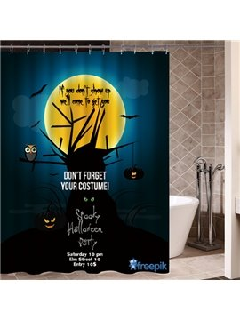 Halloween Night Poster Printing 3D Waterproof Shower Curtain