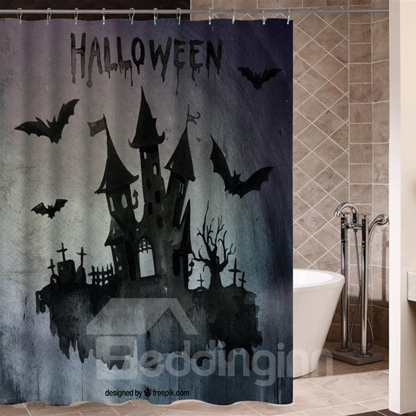 Somber Dark Castle Shadow Halloween Poster 3D Printing Shower Curtain