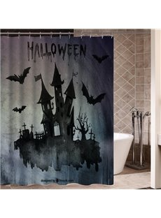 Somber Dark Castle Shadow Halloween Poster 3D Printing Shower Curtain