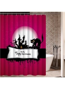 A Black Cat and Somber Castle Printing Halloween Theme 3D Shower Curtain