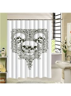 Luxury Skull Mirror with Arabesques Printing 3D Shower Curtain