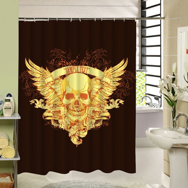 Golden Skull with Wings Printing 3D Waterproof Polyester Shower Curtain