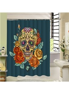 Bright Skull and Flowers Printing 3D Waterproof Polyester Shower Curtain