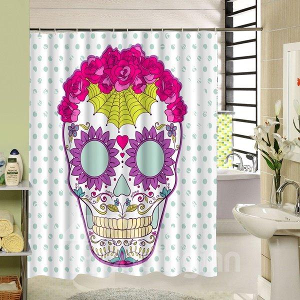Colored Clip Art Skull Printing 3D Bathroom Waterproof Shower Curtain