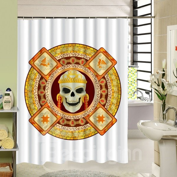 Skull in Golden Circular Ring 3D Printing Bathroom Shower Curtain